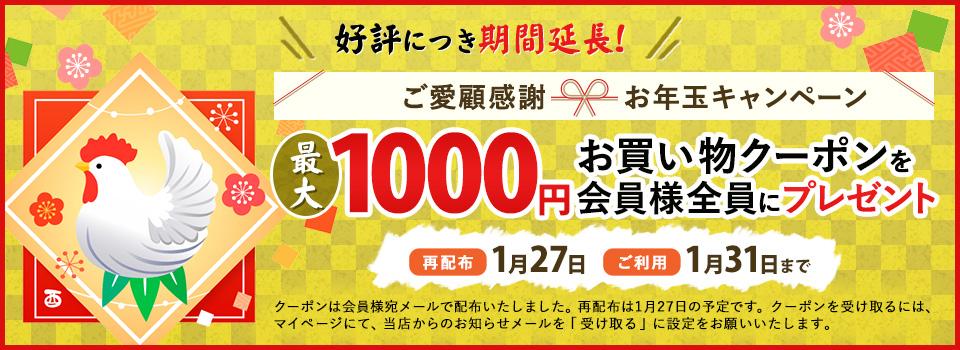 お年玉キャンペーン!最大1000円のお買い物クーポンを会員様全員にプレゼント